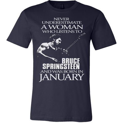 Never Underestimate a Woman who listens to Bruce Springsteen and was born in January T-shirt - Vietees Shop Online