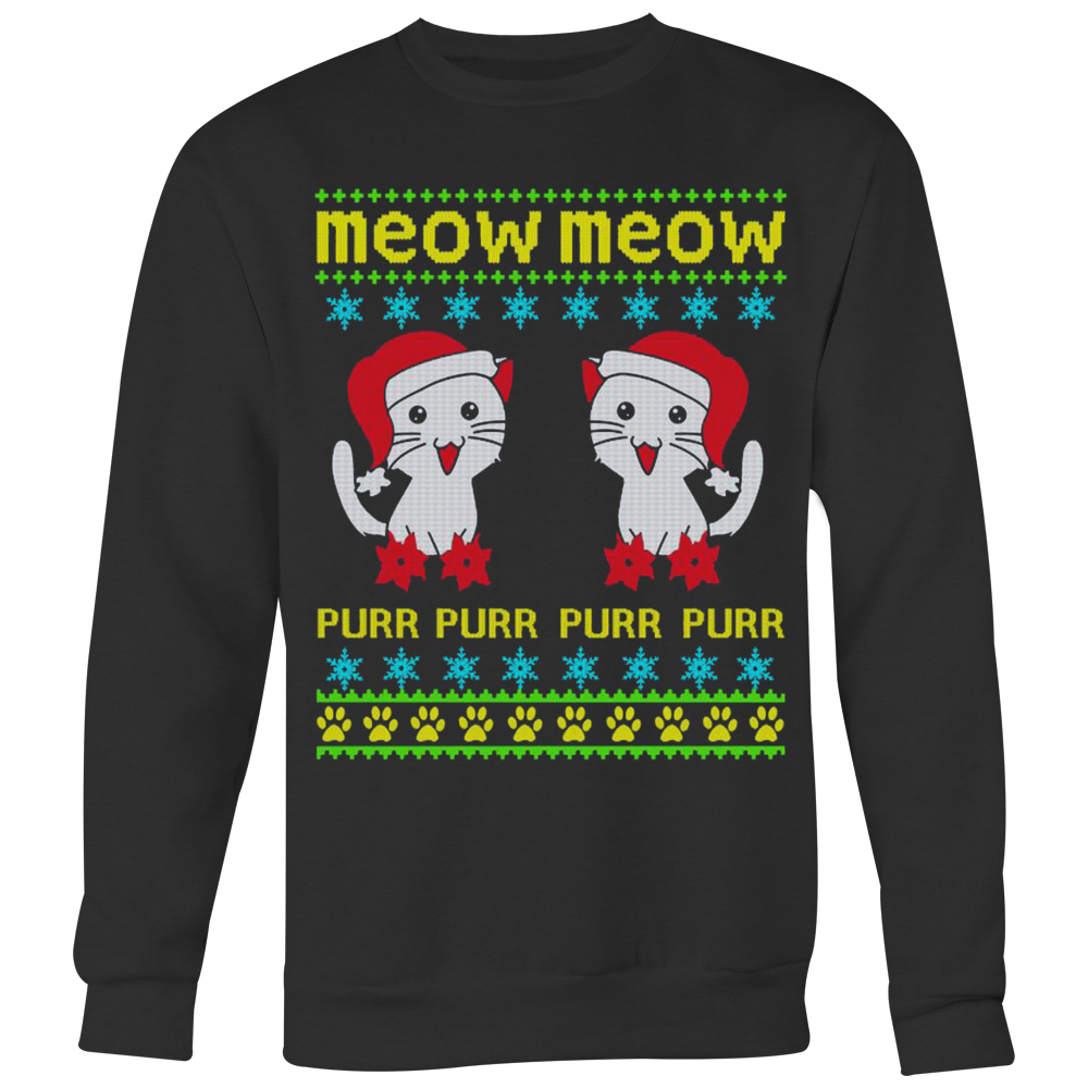 Meow meow Ugly Christmas Sweatshirt & Hoodie - Vietees Shop Online