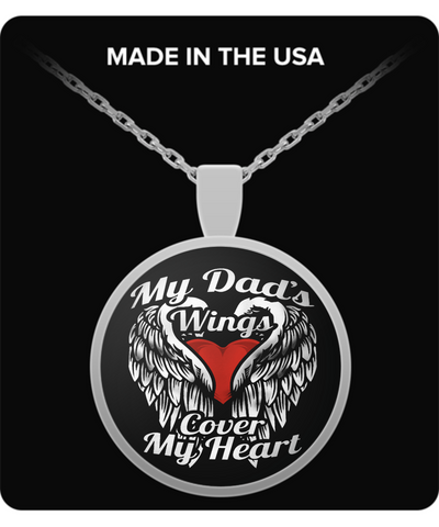 My Dad's Wings Cover My Heart Necklace - Vietees Shop Online