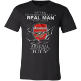 Never Underestimate a real man who loves Arsenal and was born in July T-shirt - Vietees Shop Online