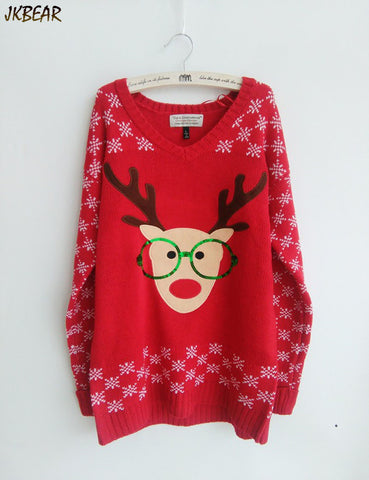 New-arriving Rudolph the Red Nose Reindeer Wearing Glasses Ugly Christmas Sweaters for Women S-XL - Vietees Shop Online - 1