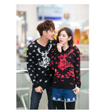 Hotest!  New Design For Christmas Sweaters Snowflakes And Fawn Printing V-Neck Couple Sweater - Vietees Shop Online