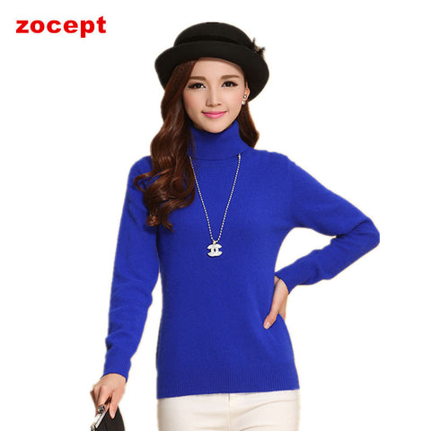 zocept  Fashion Women's Cashmere Sweaters Winter Female Solid Color Turtleneck Long-Sleeved Knitted Soft Warm Wool Pullovers - Vietees Shop Online