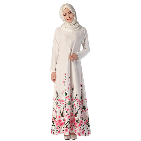 Adogirl Muslim Dress Fashion Floral Print Abaya in Dubai Islamic Clothing For Women Long Sleeve A Line Musulmane Maxi Dresses - Vietees Shop Online - 1