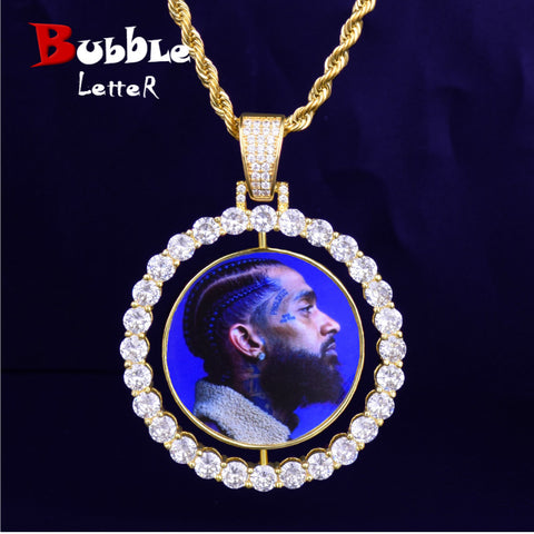 Custom Made Photo Rotating double-sided Medallions Pendant Necklace 4mm Tennis Chain Zircon Men's Hip hop Jewelry 2x1.65 inch - Vietees Shop Online