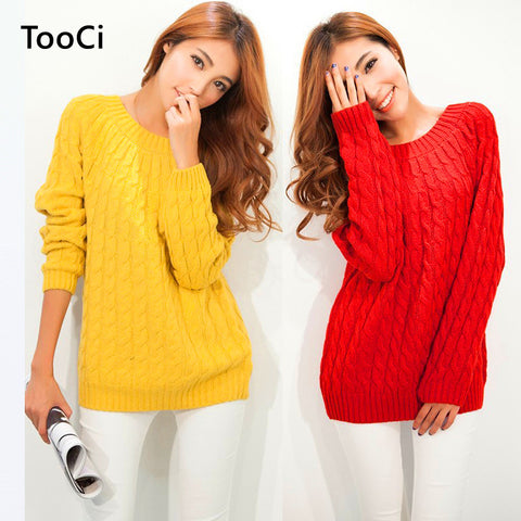 9 Colours Women Sweater Pullovers Fashion Casual Long Sleeve O-neck Twist Knitted Christmas Sweter Casacos Femininos - Vietees Shop Online