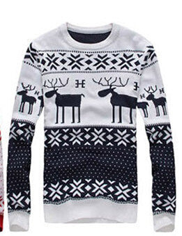 New 2016 Fahion Winter Warm Wool Knitted Mens Ugly Christmas Deer Sweater Crewneck Long Sleeve Reindeer Pullover Knitwear M-XXL - Vietees Shop Online