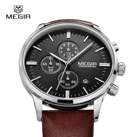 MEGIR hot fashion leather quartz watch man luminous chronograph wristwatch male casual analog watches men calendar hour clock - Vietees Shop Online