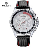 MEGIR hot fashion man's quartz wristwatch brand waterproof leather watches for men casual black watch for male 1010 - Vietees Shop Online
