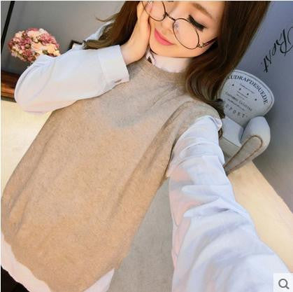 2015 spring loose big yards female hedging sweater vest sweater vest round neck wool vest waistcoat jacket