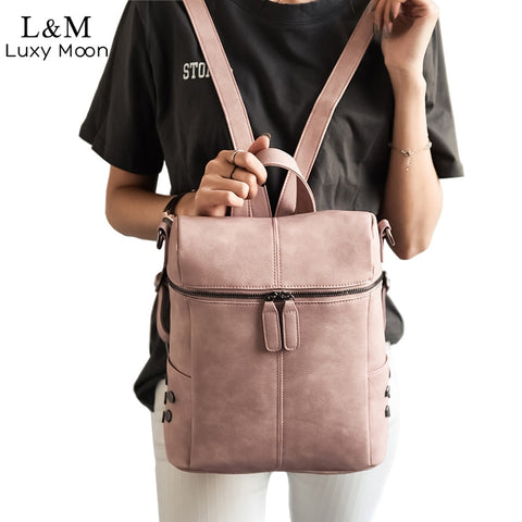 Simple Style Backpack Women Leather Backpacks For Teenage Girls School Bags Fashion Vintage - Vietees Shop Online