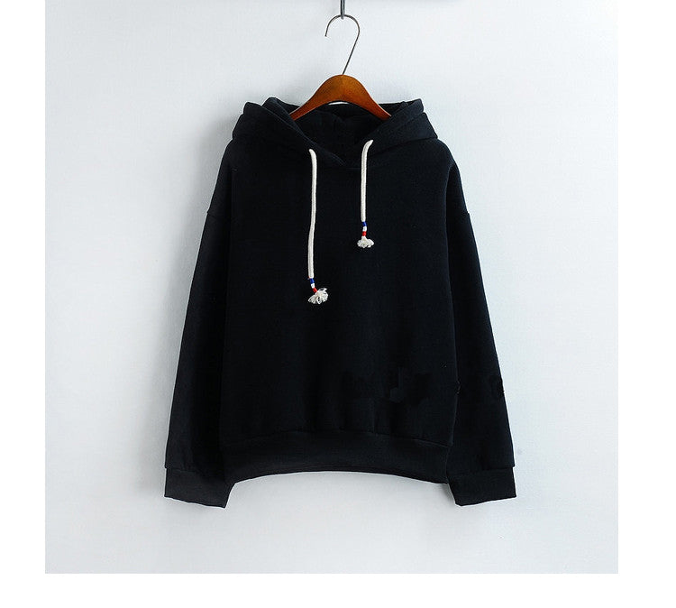 Women Hoodies Sweatshirts New Hot Sale Candy 10 Color Long Sleeved Thick Casual All-match Solid Leisure Hooded Hoodie Loose Tops - Vietees Shop Online