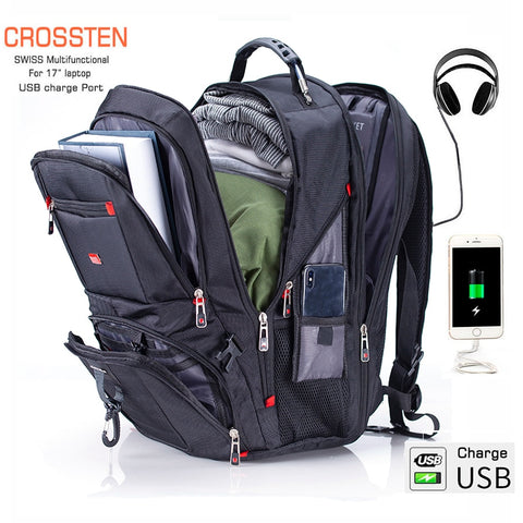 "Crossten Swiss Multifunctional 17.3"" Laptop Backpack sleeve case bag Waterproof USB Charge Port Schoolbag Hiking Travel bag - Vietees Shop Online"