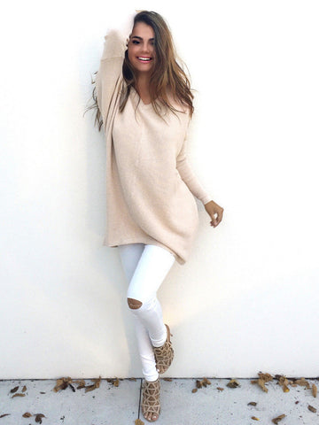 2016 Autumn Winter Sweater Women Pullovers Knitted Casual Cashmere Sweaters V-Neck Loose Pullover Long Sleeve Jumpers