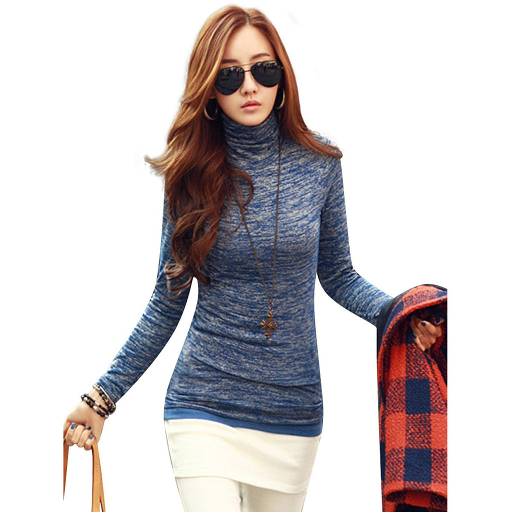 Women Winter Fashion Slim Sweater Top 2016 Solid Color Turtleneck Long Sleeve Bottoming Knitted Pullovers Sweater Jumper Shirt - Vietees Shop Online