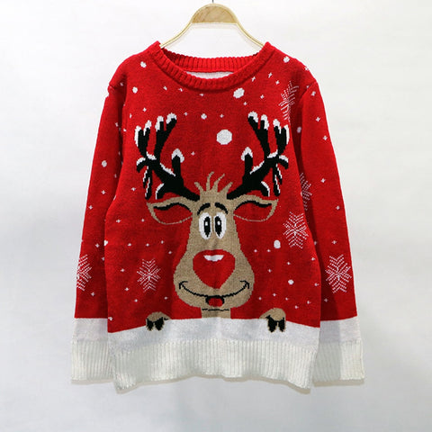 Cute Deer Elk Christmas Sweater Women Winter Knited Loose Plus Size Pullover O Neck Long Sleeve Warm Female Jumper Red Black - Vietees Shop Online