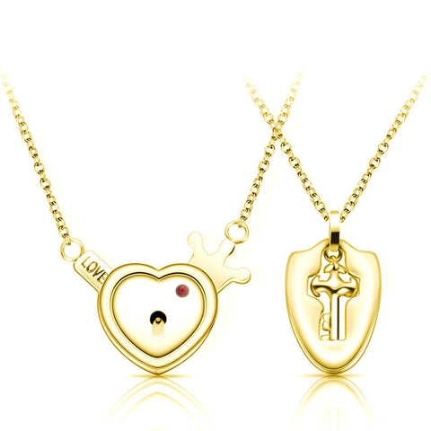 A Couple Lovers Jewelry Love Heart Lock Bracelet Stainless Steel Bracelets Bangles Key Pendant Necklace Jewelry Dropshipping - Vietees Shop Online