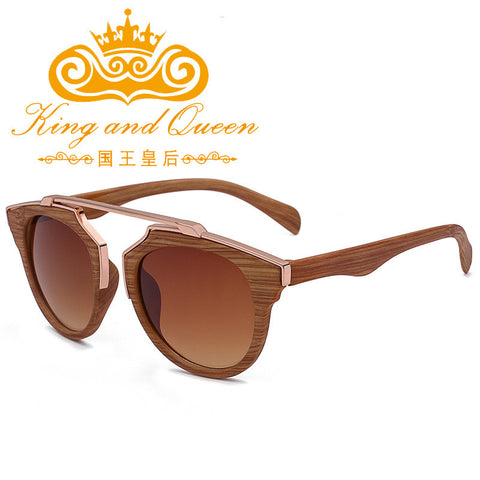 2016 Latest Retro Vintage Cat Eye Sunglasses for Women Brand Designer Imitation Wood Sun Glasses Men Driving Eyewear with Pouch - Vietees Shop Online