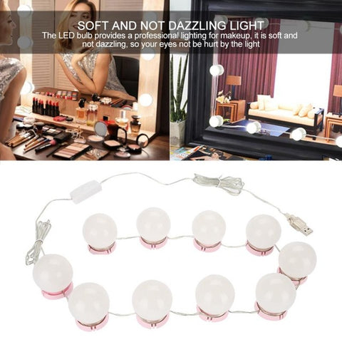 DressingTable Mirror Vanity LED Light Bulbs USB Charging Port Cosmetic Lighted Make up Mirrors Bulb Adjustable Brightness Lights - Vietees Shop Online