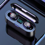 Wireless Earphone Bluetooth V5.0 F9 TWS Wireless Bluetooth Headphone LED Display With 2000mAh Power Bank Headset With Microphone - Vietees Shop Online