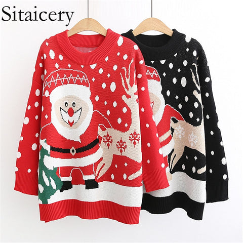 Sitaicery Vintage O Neck Sweaters Women Pullover 2019  Winter Loose Knitted Women's Sweater Oversized Sweater Christmas Clothes - Vietees Shop Online