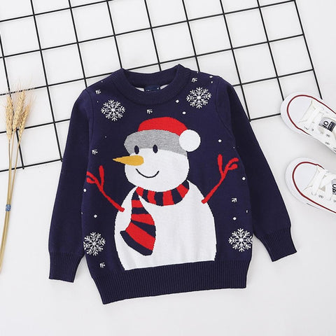 Boys Girls Clothing Kids Christmas Gift Winter Children Sweater Christmas Knitted Cartoon Pattern Double Thick Sweater - Vietees Shop Online