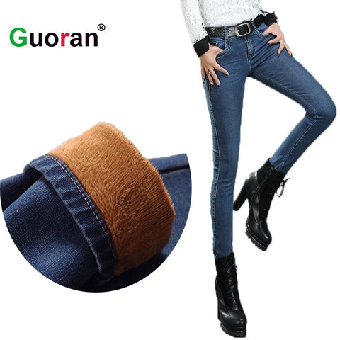 2016 Winter Warm thick velvet skinny jeans Pants for woman Plus size 34 33 Blue demin trousers Skinny ladies pant Femme Pantalon - Vietees Shop Online