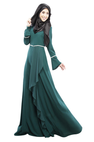2016 Design Muslim Womens Kaftan Abaya Islamic Dress O-Neck Long Sleeve Empire Waist Chiffon Floor Length Womens Hijab Clothing - Vietees Shop Online