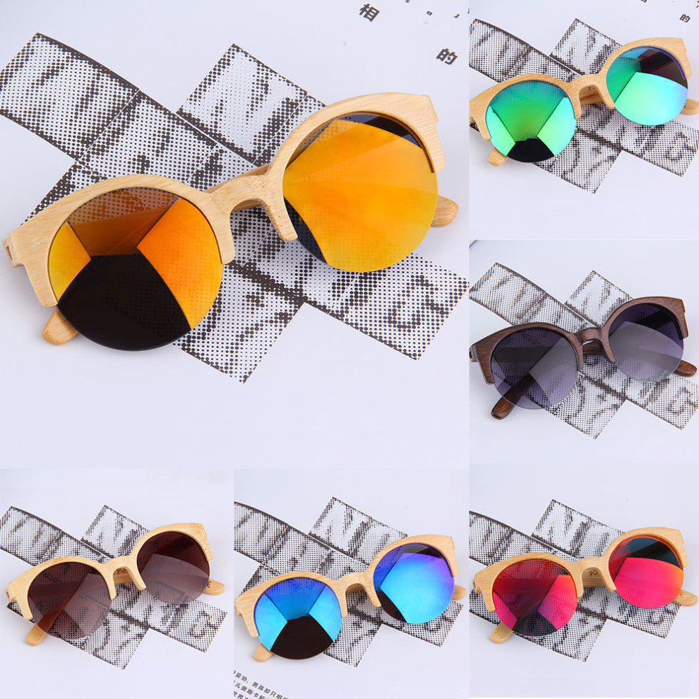 New Half Round Sunglasses Full Eyewear Bamboo Frame Glasses For Men ...