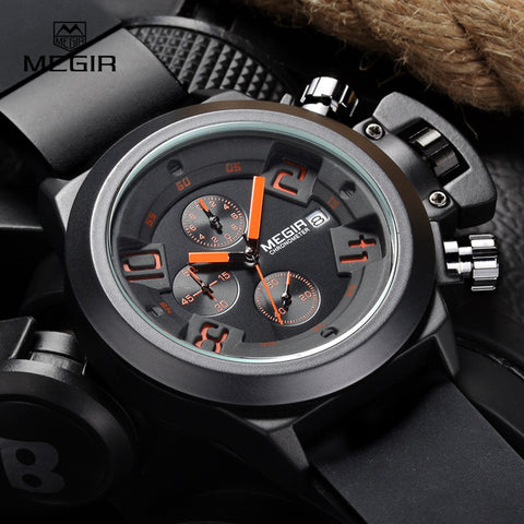 Megir Fashion Mens Silicone Band Sport Quartz Wrist Watches Analog Display Chronograph Black Watch for Man with Calendar 2002 - Vietees Shop Online