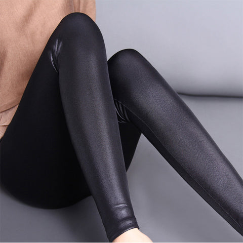 Women's and girl's Imitation Leather Slim Leggings big yards Lederhosen S M L XL XXL XXXL nine points Middle waist  Pants - Vietees Shop Online