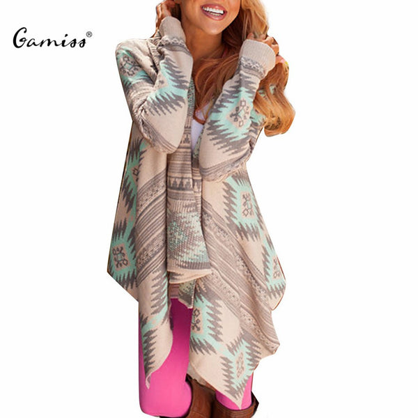 2016 Women Cardigan Pink Long Cardigans Sweaters Collarless Long Sleeve Asymmetrical Printed Casual Knitted Cardigans Coat - Vietees Shop Online