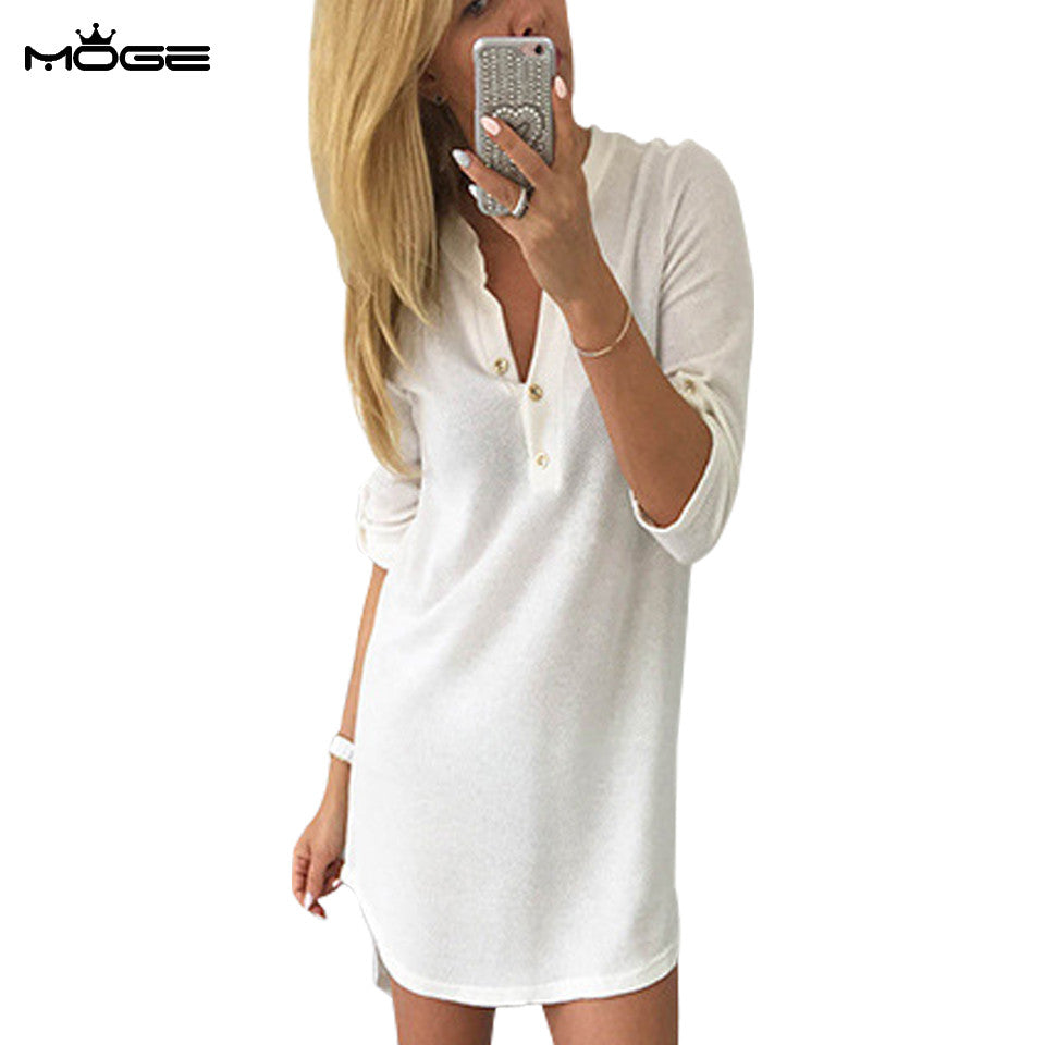 1bf6d7c952 MOGE women sweater winter dresses v-neck fashion warm knitted autumn dresses  casual mini dresses ...