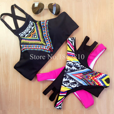 2016 New Women Bikinis High Neck Push up Bikini Set Geometry Black Swimwear Female Slim Print Swimsuit Biquini brazilian Beach - Vietees Shop Online