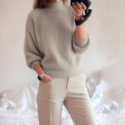 2016 new winter casual Lantern sleeve loose thick pullover female turtleneck solid ladies' sweater women - Vietees Shop Online