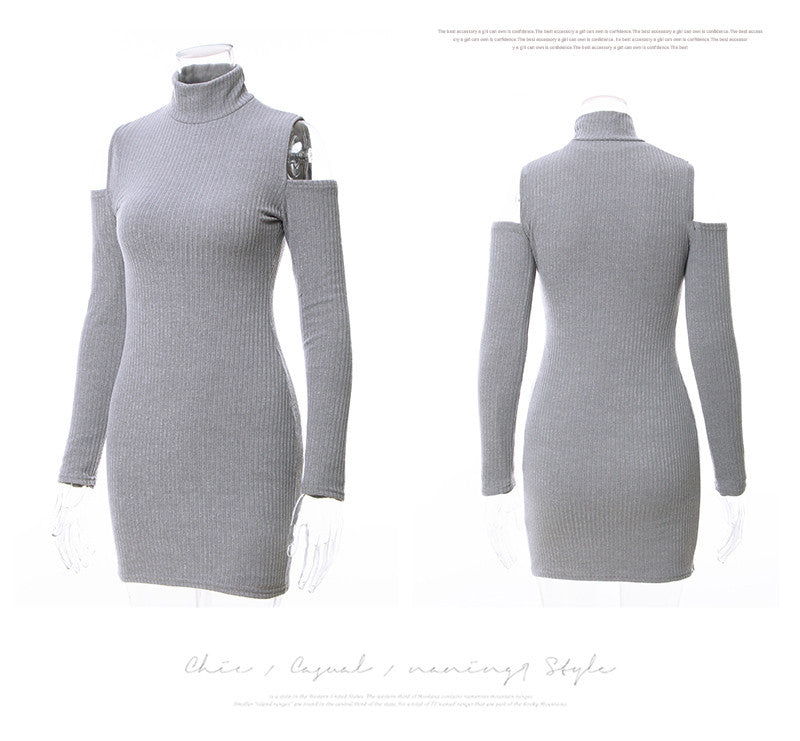 Kaywide New Arrival Rib Winter Dress Women Turtleneck Off The Shoulder Sexy Dresses Full Sleeve Elegant Bodycon Sweater Dress - Vietees Shop Online