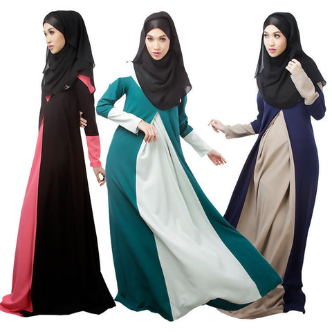 2016 New Muslim Womens Clothing Long Sleeve O-Neck Fashion Dresses Floor-Length Elegant Loose Ethnic Islamic Kaftan Abaya Dress - Vietees Shop Online - 1