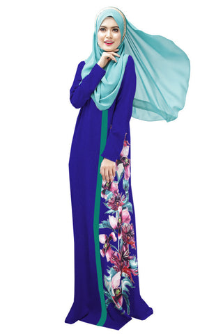 2016 Latest Muslim Womens Abaya Dress O-Neck Long Sleeve Floor-Length Loose Printed Islamic jilbab hijab Kaftan Womens Clothing - Vietees Shop Online - 1