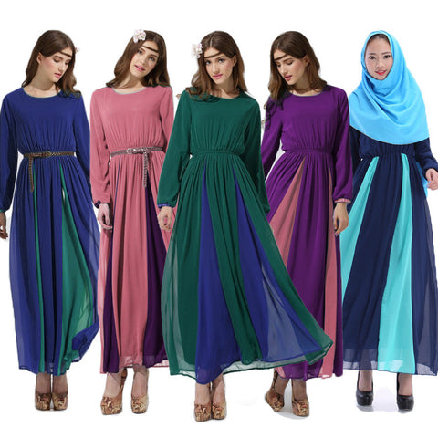 Middle East Long sleeve abayas  chiffon Muslim Vintage clothing patchwork color Islamic women abaya Dubai kaftan without belt - Vietees Shop Online