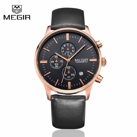 Megir Canvas & Genuine Leather Strap Business Mens Watches Top Brand Luxury Quartz Sport Wrist Watch Men Clock Relogio Masculino - Vietees Shop Online - 1