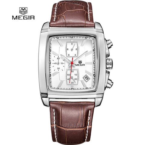 2016 new fashion square MEGIR brand chronograph men male army thin clock sport leather strap luxury wrist watch best gift 2028 - Vietees Shop Online