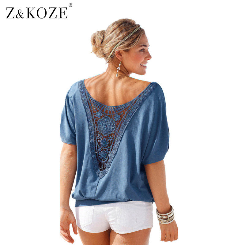 e31f3a45940b Z&KOZE Womens Hollow out Stitching Lace Summer T Shirt Fashion Loose tops  Lady Lace Top t ...
