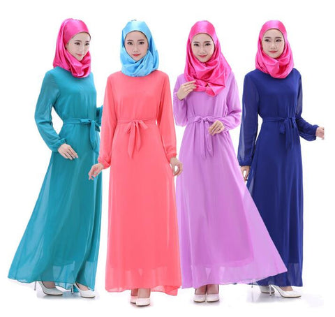 fashion Women Kaftan Muslim Maxi Dress two tone Adult Long Muslim Dress Women Clothing Abaya Islamic Kaftan - Vietees Shop Online