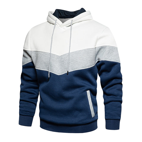 Men's Patchwork Hooded Sweatshirt Hoodies Clothing Casual Loose Fleece Warm Streetwear
