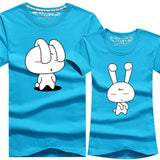 2016 Valentine Day Gift Men Women Short Sleeve Couple T Shirt Female Male Print Corea Cartton Rabbit Casual Lover T-Shirt Camisa - Vietees Shop Online