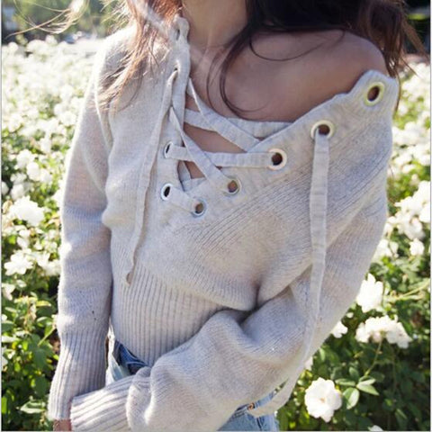 Autumn Woman Sweater 2016 Sexy Bandage Long Sleeve Knitted Sweaters Women Sex Pullovers Casual Vestido Nude Jumper Pull Femme - Vietees Shop Online