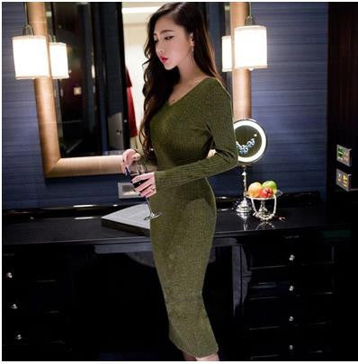 New 2016 Autumn Winter Knitting Sweater Women Dress Long Sleeve V Neck  Basic Slim Package Hip Dress Sex Bodycon Dress SW182 e1b092247