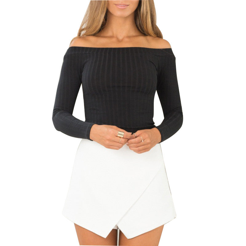 Sex Slash Collar Sweater Female Basic Pullover Sweaters Thickening Sexy Strapless Long-sleeved Mujeres Sueter - Vietees Shop Online