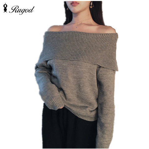 2016 Slash Neck Full Winter Pullover Women Solid Sex Knitted Knitted Sweater Gary Khaki - Vietees Shop Online