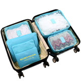 6pcs/set Nylon packing cube large capacity double zipper Waterproof bag Luggage Clothes - Vietees Shop Online